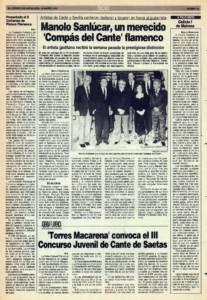 Manolo Sanlúcar, un merecido 'Compás del Cante' flamenco   Torres Macarena convoca el III concurso juvenil de cante de saetas   Opinión: Calixto I de Mairena (Calixto Sánchez)   15 mar 1991
