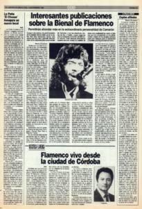 Interesantes publicaciones sobre la Bienal de Flamenco | Flamenco vivo desde la ciudad de Córdoba | Opinión: Coplas afiladas | 13 nov 1992