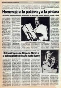 Homenaje a la palabra y a la pintura | VI Bienal de Arte Flamenco | Torre de Don Fadrique | Del sentimiento de Diego de Morón a la belleza plástica de Ana María Bueno | 1 sep 1990