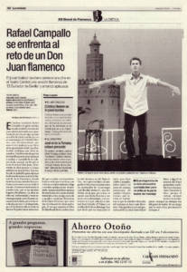 Rafael Campallo se enfrenta al reto de un Don Juan flamenco | Rafael Campallo, Adela Campallo, Asunción Pérez, Choni | XIII Bienal de Flamenco | Teatro Central | 21 sep 2004