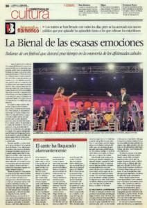 La Bienal de las escasas emociones (1) – El cante ha flaqueado alarmantemente | XVI Bienal de Flamenco | 11 oct 2010