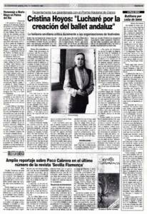 Entrevista - Cristina Hoyos: «Lucharé por la creación del ballet andaluz»   15 feb 1991