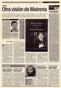 Otra visión de Antonio Mairena – 'Duende y poesía en el cante de Antonio Mairena', de José Cenizo Jiménez | Opinión: Todo un ejemplo | 29 nov 2000