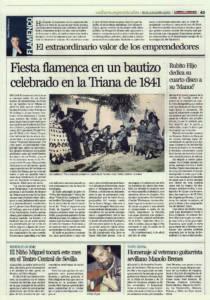 Fiesta flamenca en un bautizo celebrado en la Triana de 1841 | Rubito Hijo dedica su cuarto disco a su Manué | Opinión: El extraordinario valor de los emprendedores | 18 nov 2011