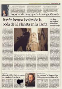 Por fin hemos localizado la boda de Antonio El Planeta en la Tacita   Las obras 'incompletas' del sevillano Manuel Vallejo   Opinión: Importancia de apoyar la investigación seria   10 feb 2012