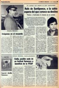 Rufo de Santiponce o la sabia espera del que conoce su destino   Imágenes en el recuerdo – Antonio Mairena   Cádiz, posible sede de un festival flamenco a beneficio de la ITEAF   Especial 'Sevilla Flamenca'   14 ene 1987