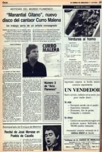 'Manantial gitano', nuevo disco del cantaor Curro Malena | 18 nov 1988