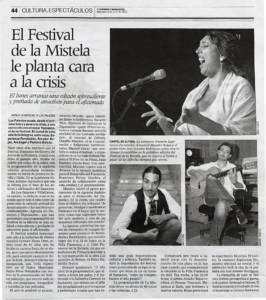 El Festival de La Mistela le planta cara a la crisis   3 jun 2009