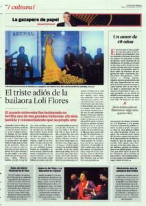 El triste adiós de la bailaora Loli Flores | Opinión: Un amor de cuarenta años | 9 oct 2015