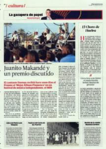 Juanito Makandé y un premio discutido | Opinión: El Choro de Huelva | 22 abr 2016