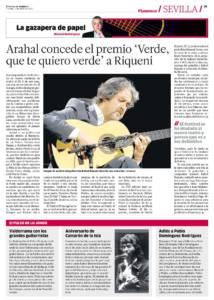 Arahal concede el premio 'Verde que te quiero verde' a Rafael Riqueni | Aniversario de Camarón de la isla | Adiós a Pablo Domínguez Rodríguez | 2 jun 2017