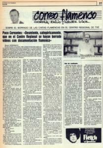 Paco Cervantes: «Desmiento categóricamente que en el Centro Regional se hayan borrado vídeos con documentación flamenca» | 22 oct 1985