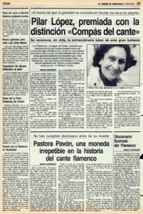 Pilar López, premiada con la distinción Compás del Cante   Pastora Pavón, una moneda irrepetible en la historia del cante flamenco   2 dic 1988
