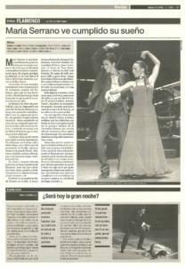 María Serrano ve cumplido su sueño | María Serrano | XI Bienal de Arte Flamenco | Teatro Central | 30 sep 2000