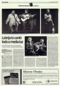 Lebrija lo cantó todo a media luz | 'Voces de Lebrija' – Curro Malena, Manuel de Paula, José Valencia | XIII Bienal de Flamenco | Teatro Lope de Vega | 1 oct 2004