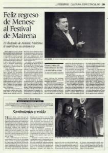 Feliz regreso de Menese al Festival de Mairena | José Menese, Carmen Linares, Calixto Sánchez, Javier Barón, Aurora Vargas | Festival de Cante Jondo Antonio Mairena | 7 sep 2009
