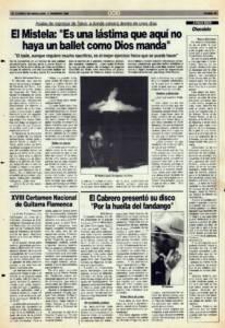 Entrevista - El Mistela: «Es una lástima que aquí no haya un ballet como Dios manda» | 2 feb 1990