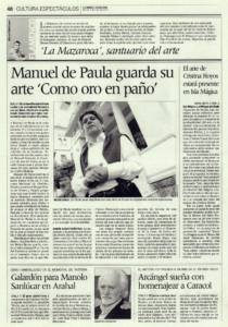 Manuel de Paula guarda su arte como oro en paño | Opinión: La Mazaroca de Arahal, santuario del arte | 4 may 2007