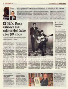 El Niño Rosa saborea las mieles del éxito a los 90 años – Antonio Gallardo Gallego | Honores a Enrique de Melchor | Opinión: Los gazaperos tomarán mañana la localidad de Arahal | 2 nov 2012