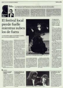 El festival local pierde fuelle mientras suben los de fuera | Amiguismo, enchufismo y artistas que se quejan en las redes sociales | Opinión: La Bienal de Flamenco hace el ridículo en el mundo | 11 abr 2014