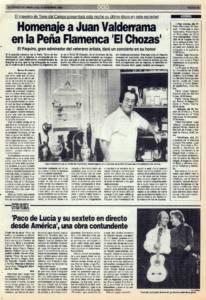 Homenaje a Juan Valderrama en la Peña Flamenca El Chozas | Crítica: Paco de Lucía y su Sexteto en directo desde América, una obra contundente | 17 dic 1993