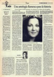 Una antología flamenca para la historia – 'La mujer en el cante', de Carmen Linares | Opinión: Niño de Marchena, que estás en el cielo | 7 jun 1996