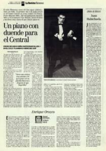 Un piano con duende para el Central – Pedro Ricardo Miño | Juan Habichuela – 'De la zambra al duende' | Opinión: Enrique Orozco | 21 may 1999