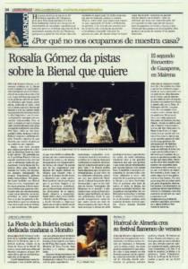 Rosalía Gómez da pistas sobre la Bienal que quiere | El segundo Encuentro de Gazaperos, en Mairena | Opinión: ¿Por qué no nos ocupamos de nuestra casa? | 15 sep 2011