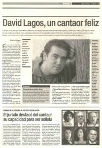 David Lagos, un cantaor feliz | 27 oct 2000